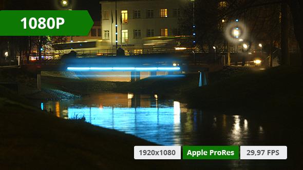 VideoHive Night Traffic in City Over Bridge 10155012