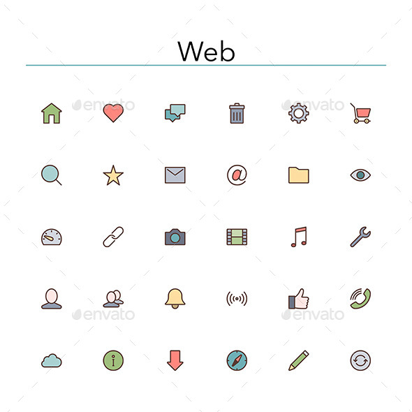 GraphicRiver Web Colored Line Icons 10155262