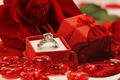 Red hearts and rose with wedding ring - PhotoDune Item for Sale