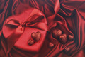 Hearts for valentines Day on satin background - PhotoDune Item for Sale