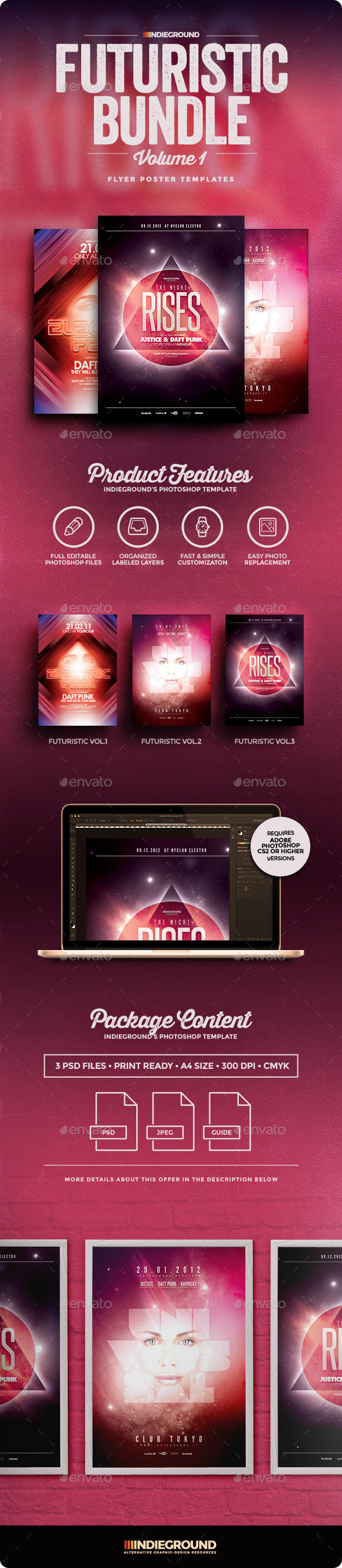 Futuristic Flyer/Poster Bundle Vol. 1-3 - Clubs & Parties Events