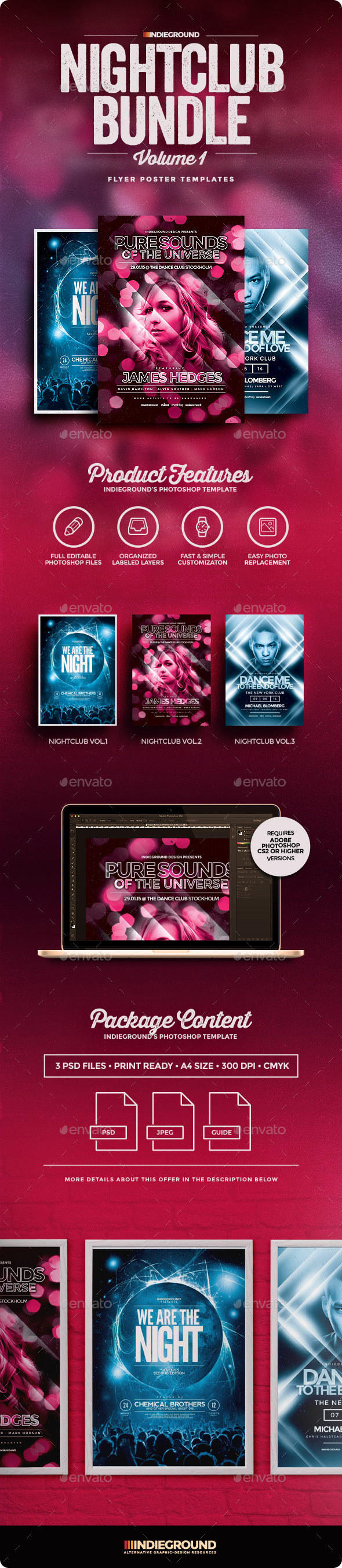 Nightclub Flyer/Poster Bundle Vol. 1-3 - Clubs & Parties Events