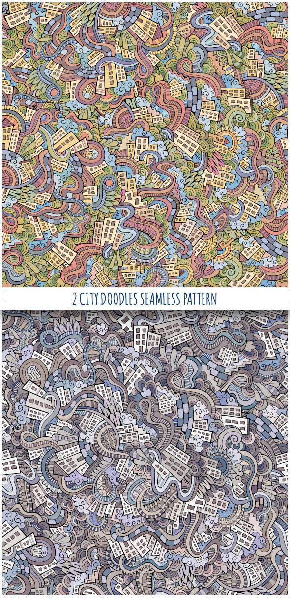 GraphicRiver 2 Doodles Houses Seamless Pattern 10156261