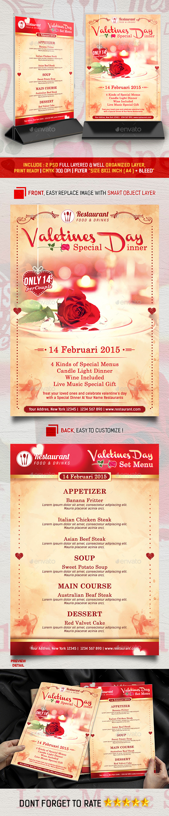 GraphicRiver Valentines Menu Special Dinner Promotion 10156520