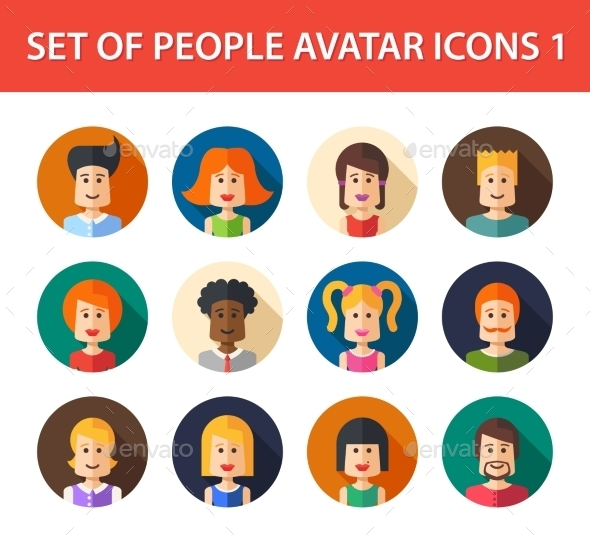 GraphicRiver Set of People Avatar Icons 10157694