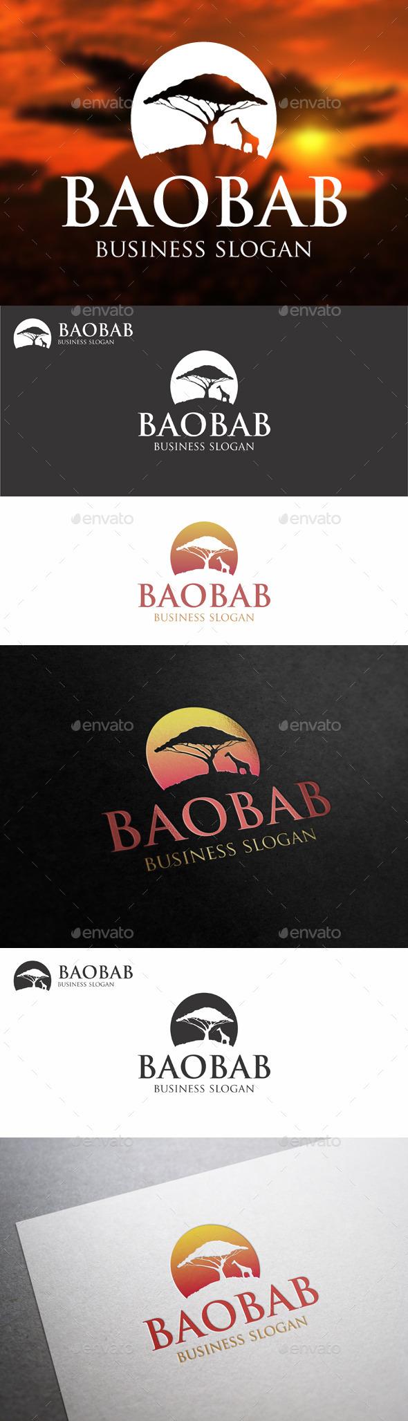 GraphicRiver Baobab Tree African Landscape Logo 10157953