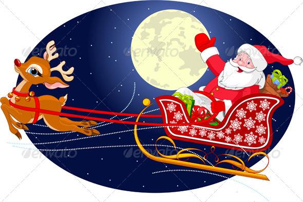 Graphic River Santa s Sled  Vectors -  Conceptual  Seasons/Holidays  Christmas 1022920