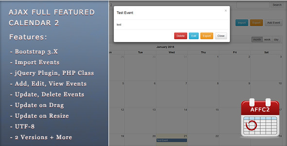CodeCanyon Ajax Full Featured Calendar 2 10158465