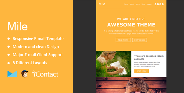 ThemeForest Mile Responsive E-mail Template 10158677
