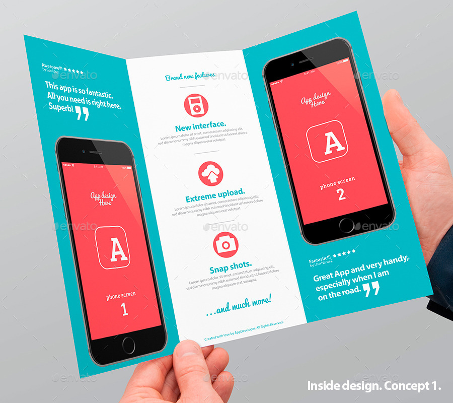 Mobile App Trifold Brochure vol.1 by Level_Studio