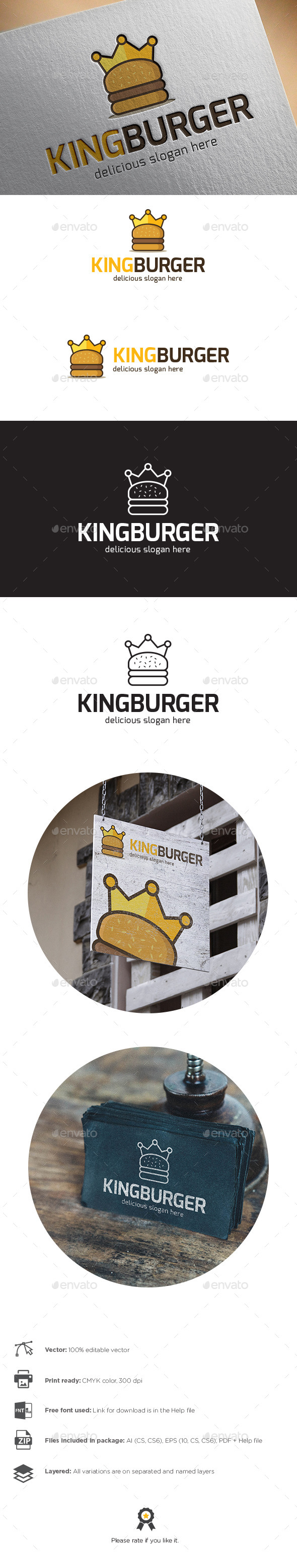 GraphicRiver King Burger Logo 10158879
