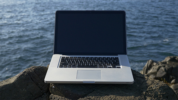 Laptop by the Ocean