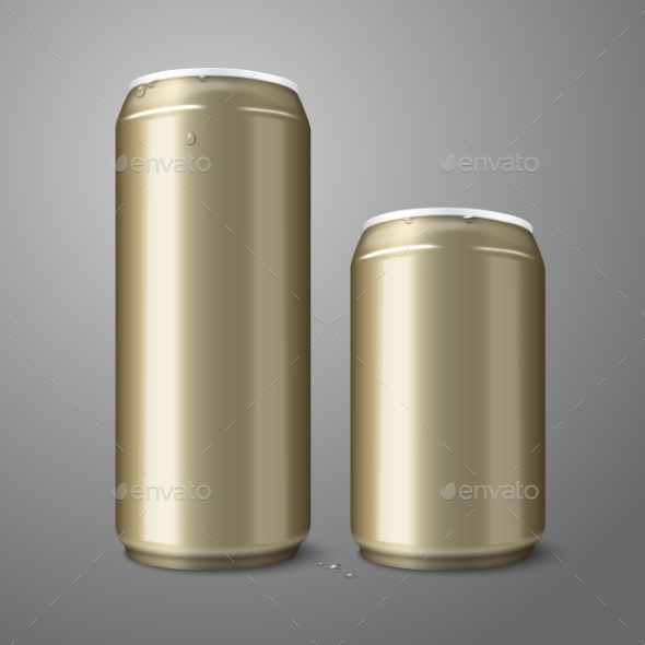 GraphicRiver Two Blank Golden Beer Cans 10160257