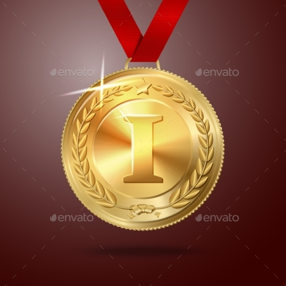 Golden First Place Medal with Red Ribbon