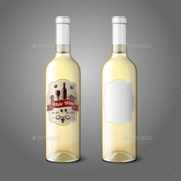GraphicRiver Two Realistic Bottles for White Wine with Labels 10160267