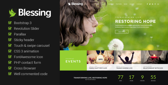 ThemeForest Blessing Church Website Template 9628823