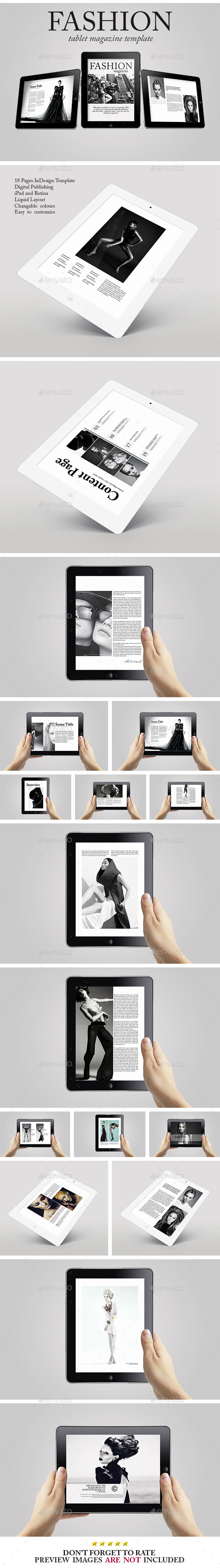 GraphicRiver Tablet Fashion Magazine Template 10083145