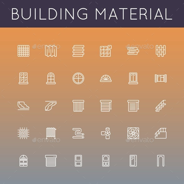 GraphicRiver Vector Building Material Line Icons 10160848