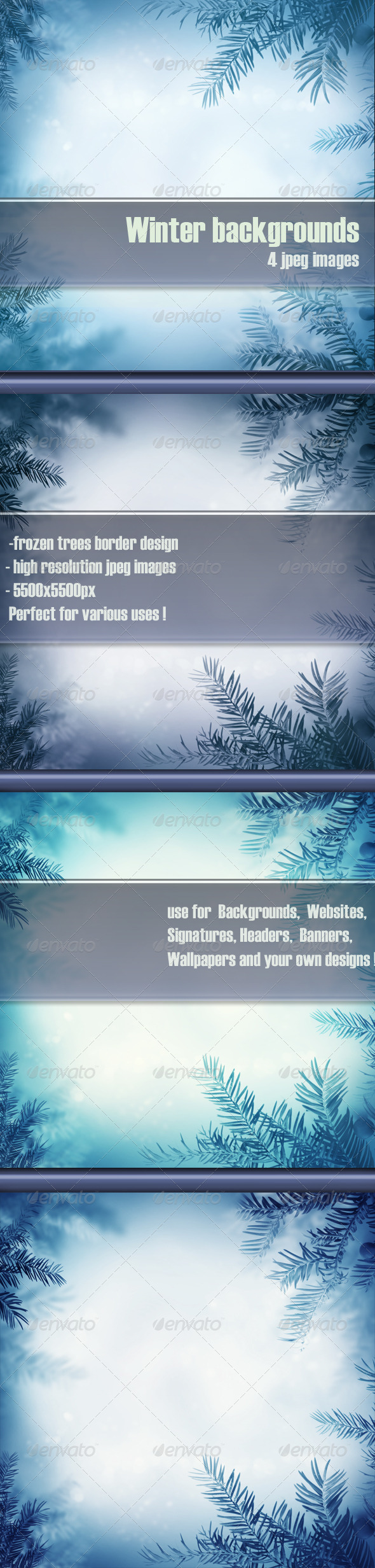 Winter Background with Frozen Trees - Backgrounds Graphics