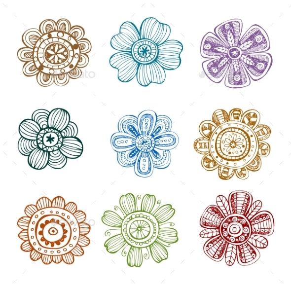 GraphicRiver Set of Ornate Flowers 10162014