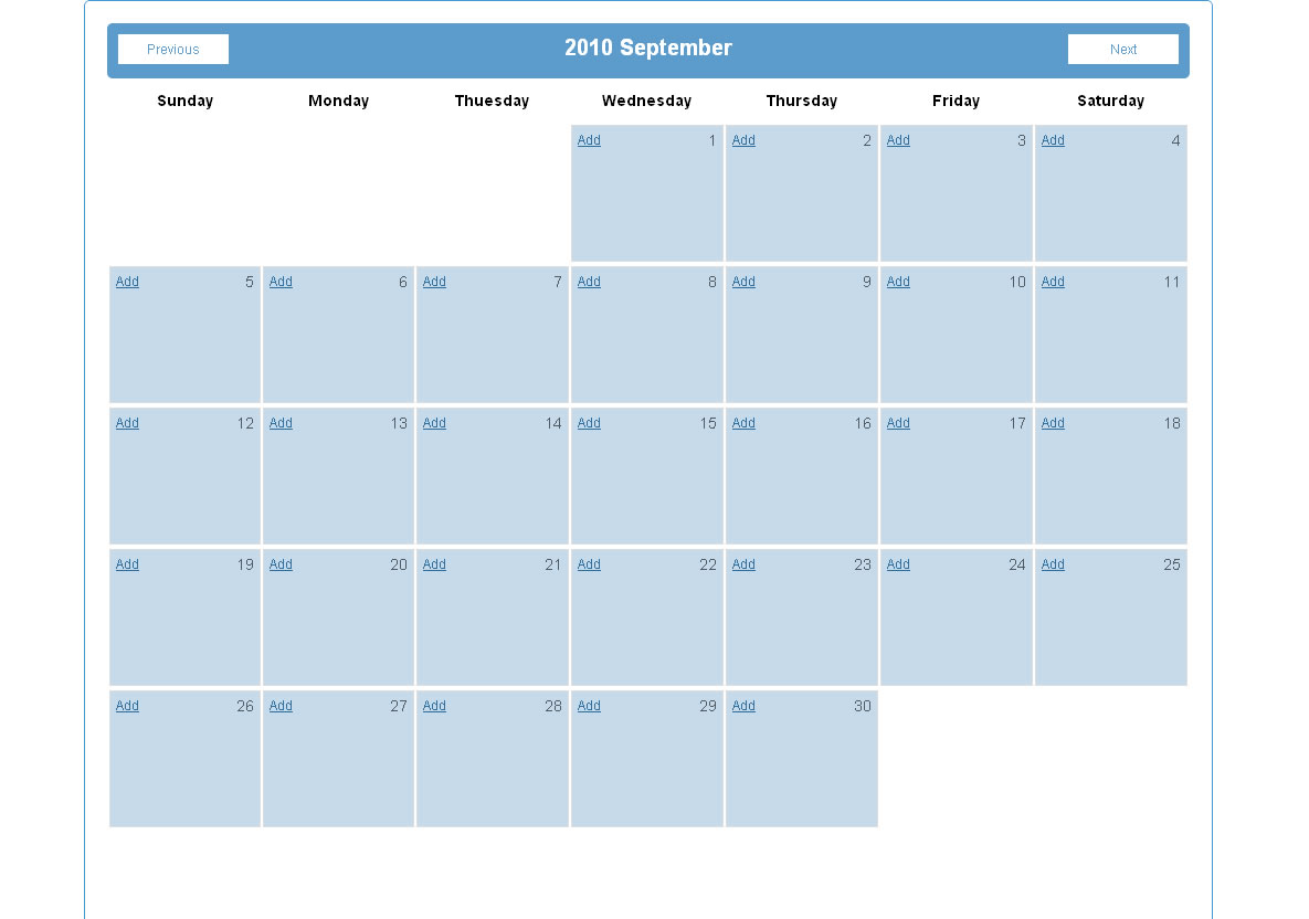 Client Side Calendar - home page