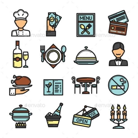 GraphicRiver Restaurant Icons Set 10163113