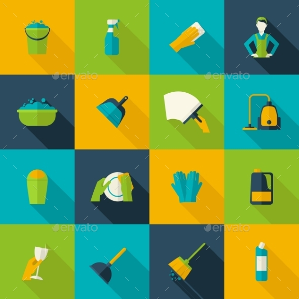 GraphicRiver Cleaning Icon Flat 10163169