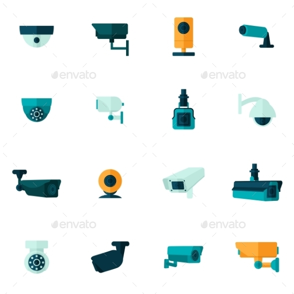 GraphicRiver Security Camera Icon Flat 10163348