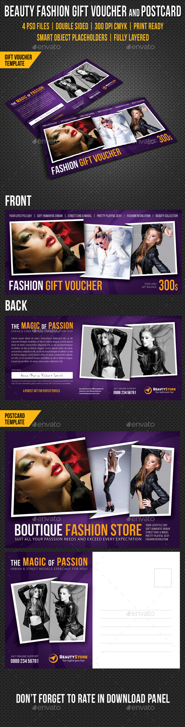 GraphicRiver Beauty Fashion Gift Voucher and Postcard V04 10163788