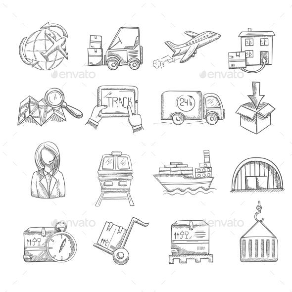 GraphicRiver Logistics Sketch Set 10163888