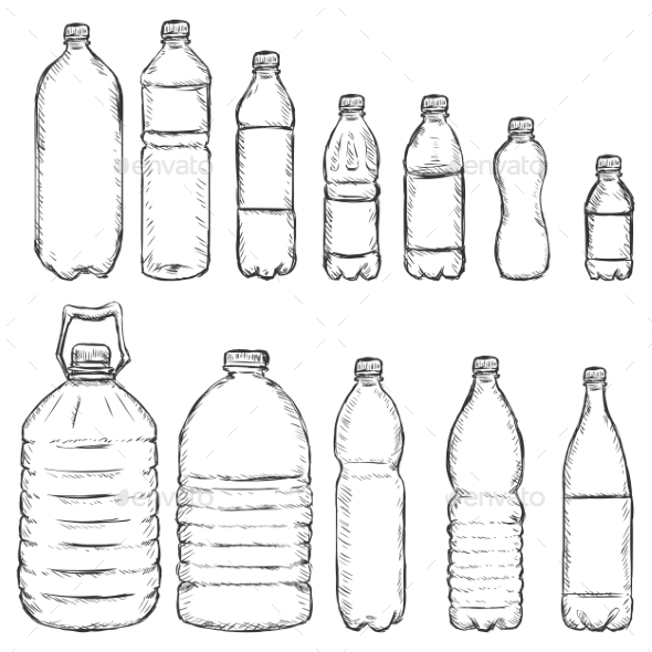 GraphicRiver Vector Set of Sketch Plastic Bottles 10163925