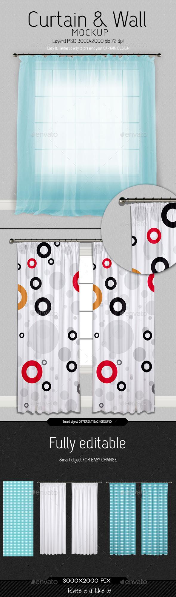 GraphicRiver Curtain & Wall Mockup V2.0 10165629