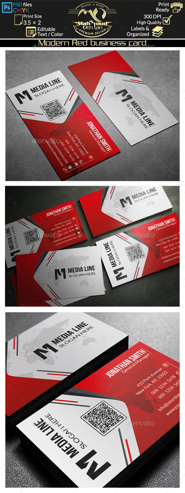 GraphicRiver Modern Red Business Card 10165991
