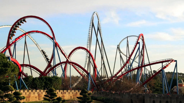 Huge Roller Coasters at an Amusement Park 04
