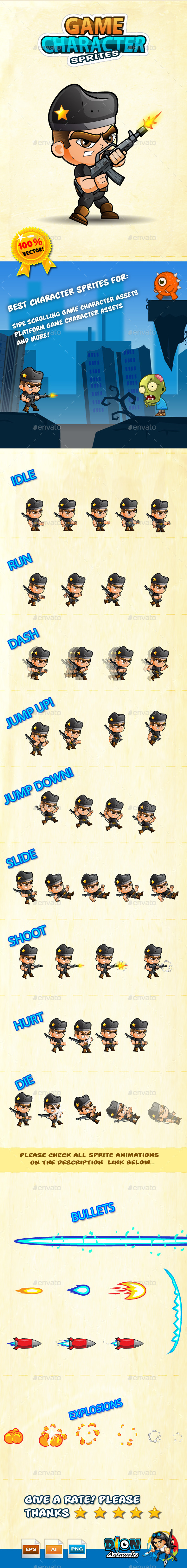 GraphicRiver Game Character Sprites Soldier 10166202