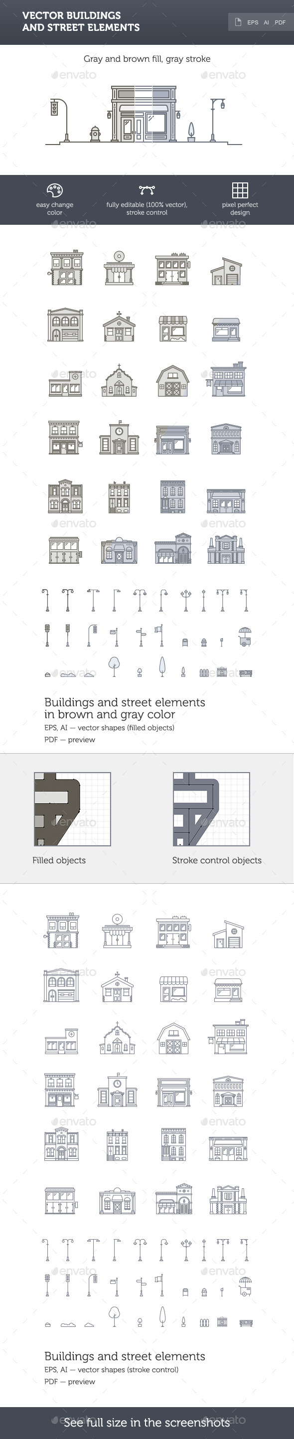 GraphicRiver Vector Buildings and Street Elements 10117885