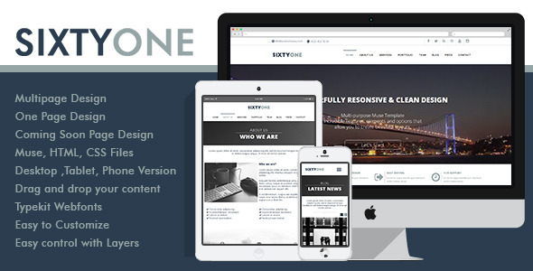 ThemeForest SixtyOne Multipurpose Muse Template 10168196