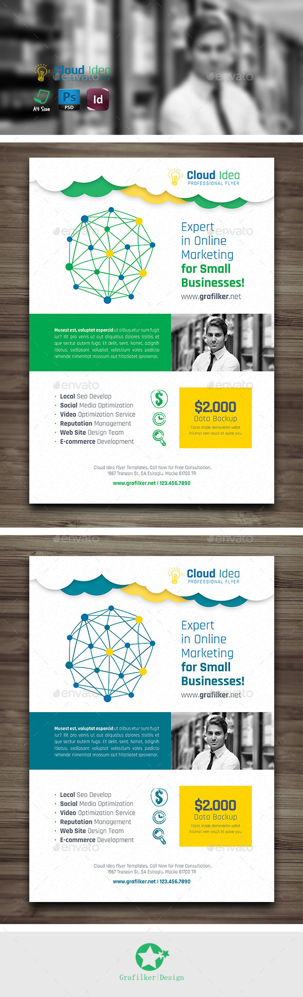 GraphicRiver Cloud Idea Flyer Templates 10168225