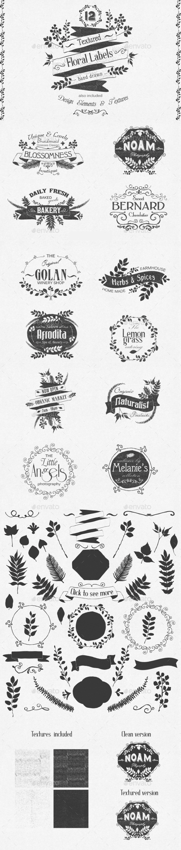 GraphicRiver Hand Drawn Floral Labels and Design Elements 10169622