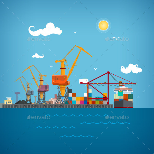 GraphicRiver Cargo Seaport 10169685