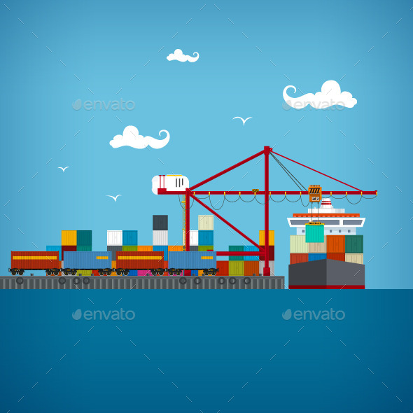 GraphicRiver Cargo Seaport 10169708