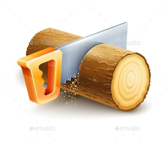GraphicRiver Manual Saw Cutting Wooden Timber 10170346