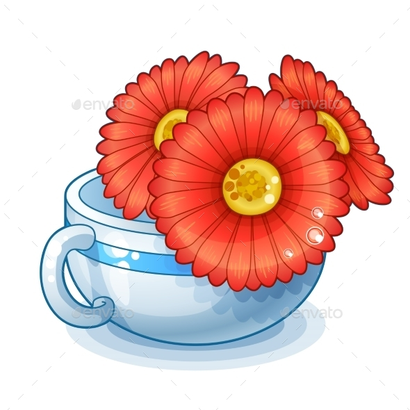 GraphicRiver Red Flowers in a Cup 10170906