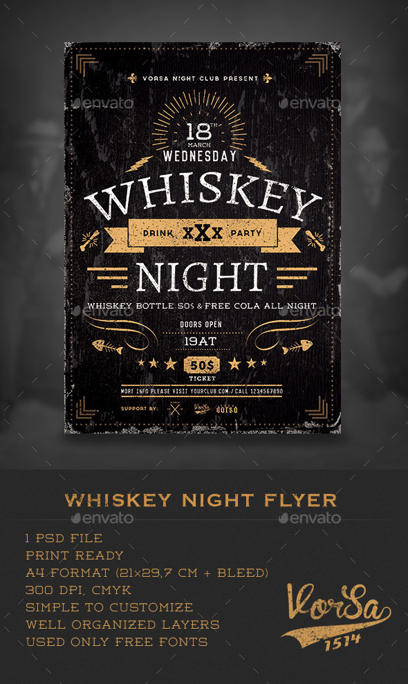 GraphicRiver Whiskey Night Flyer 10171045