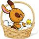 Easter Bunny Sitting in a Basket with White Eggs