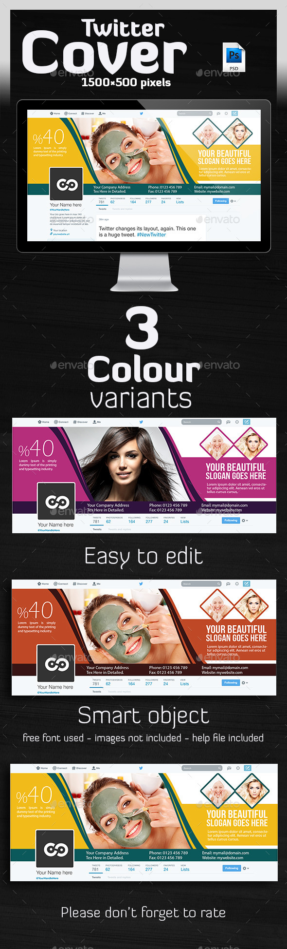 GraphicRiver Hair & Beauty Salon Twitter Header 10171961