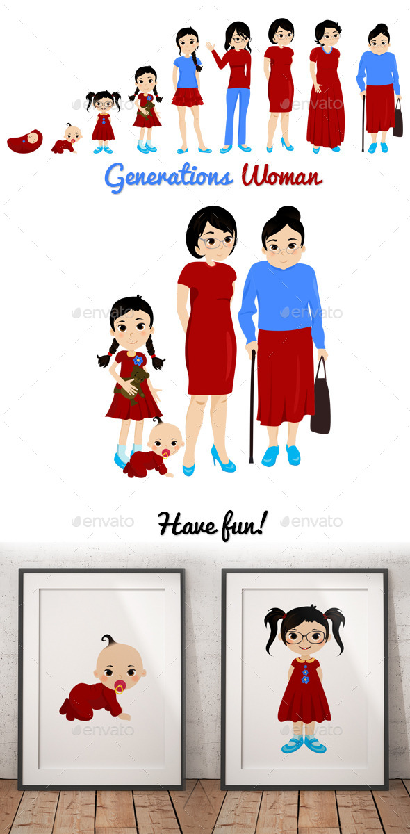 GraphicRiver Generations Woman Set 10172256