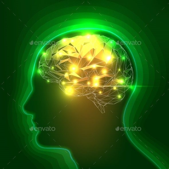 GraphicRiver Abstract Human Head Silhouette with a Brain 10172277