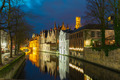 Night cityscape with a tower Belfort and the Green canal in Brug - PhotoDune Item for Sale