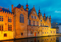 Brugse Vrije and the Green canal in Bruges at night - PhotoDune Item for Sale